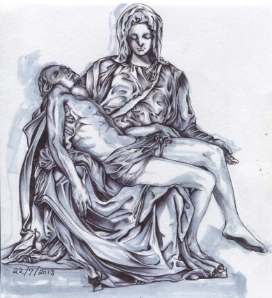 """""""the Pieta"""", pen and marker on A4 sized paper, 2013"""