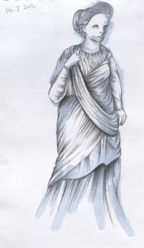 """Statue of a woman"", pencil and markers on A4 sized paper, 2013"