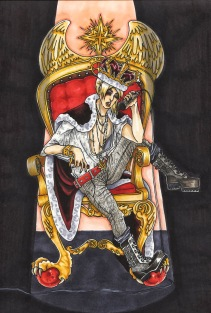 """""""The King of Wishes"""", pen and copic markers on B4 sized paper, Jessica McLeod-Yu, 2013"""