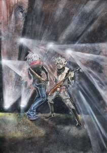 """""""Guitar Duel"""", graphite, watercolours and acrylic ink on B4 sized paper, Jessica McLeod-Yu, 2013"""