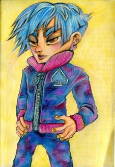 """Pink & Blue"", colour pencils, Jessica McLeod-Yu, 2016"