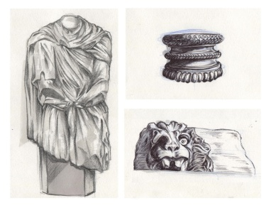"""""""Headless statue and column caps"""", pencil, pens and markers on A4 sized paper, 2013"""