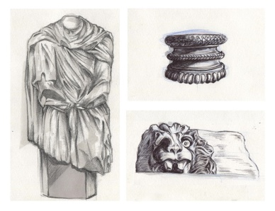"""Headless statue and column caps"", pencil, pens and markers on A4 sized paper, 2013"