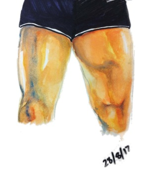 """Thigh Studies"", watercolour and permanent marker on A4 sized paper, 2012"
