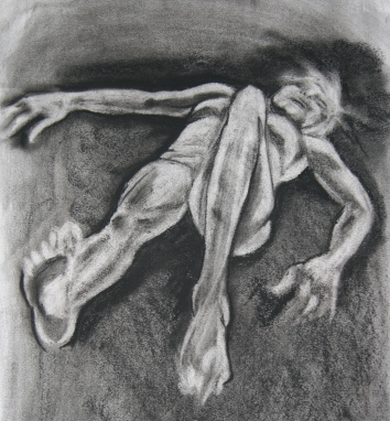 """""""woman lying down"""", charcoal on A2 sized paper, 2014"""