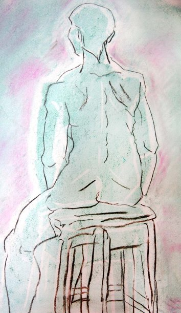 """""""woman sitting, minimal line work"""", charcoal, pastels and chalk on A2 sized paper, 2014"""