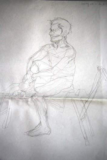 """""""Man sitting, drawn with left hand"""", graphite on A2 sized paper, 2014"""