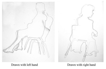 """""""silhouettes left and right handed drawings"""", graphite on A2 sized paper, 2014"""