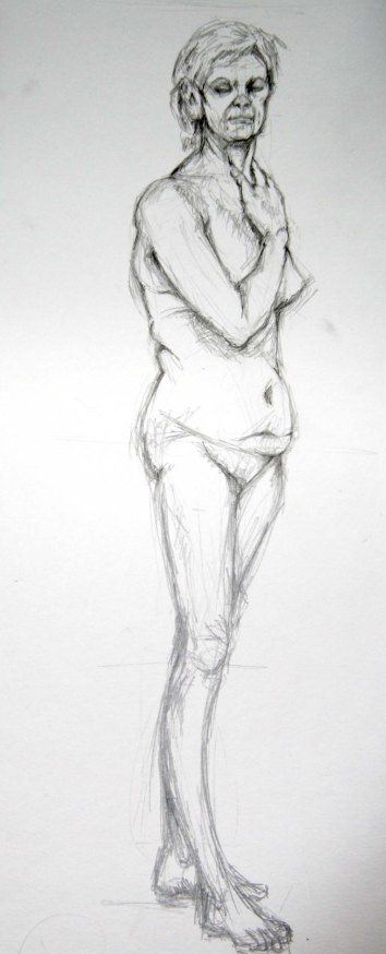 """""""Woman standing"""", graphite on A2 sized paper, 2014"""