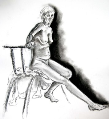 """""""Woman sitting - light and shade"""", charcoal on A2 sized paper, 2014"""