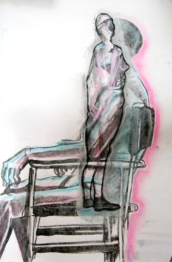 """""""Abstraction of a woman"""", ink, charcoal, pastels and chalk on A2 sized paper, 2014"""