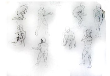 """""""Man - Gesture poses"""", graphite on A1 sized paper, 2014"""