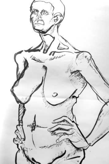 """""""Woman standing"""", ink on A1 sized paper, 2014"""