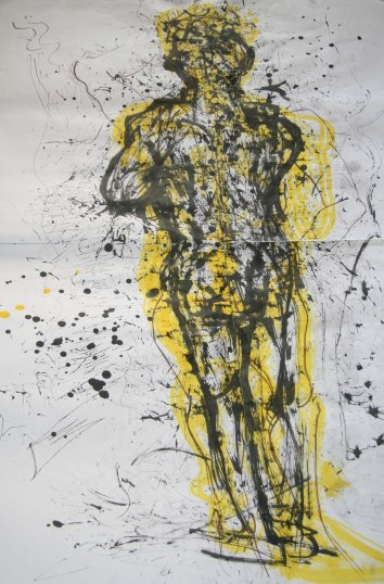 """""""experimental drawing using found objects"""", ink drawn with sticks, leaves, and other objects on 2m x 1m sized paper, 2014"""