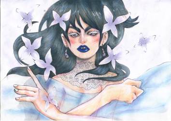 """Dream Girl"", coloured pencils, copic markers and chalk pastels on A4 sized paper, Jessica McLeod-Yu, 2014"