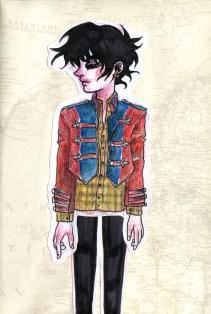 """Military Jacket"", watercolours, coloured pencils, ink, cutouts, Jessica McLeod-Yu, 2016"