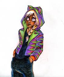 """Purple Hoodie"", colour pencils, Jessica McLeod-Yu, 2016"