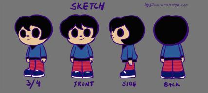 """Sketch Character Sheet"", photoshop, from AWAKE animation, Jessica McLeod-Yu, 2016"