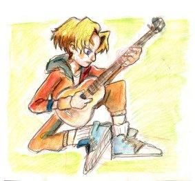 Back Playing Guitar