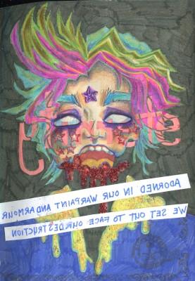 """eternity"", markers, colour pencils, glitter, Jessica McLeod-Yu, 2017"
