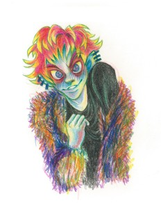"""Your love makes me crazy"", ink, colour pencil, Jessica McLeod-Yu, 2018"
